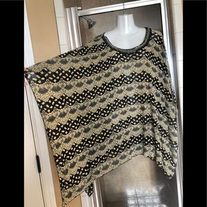 Tops - Beautiful beaded poncho batwing style top